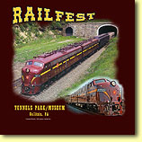 2011 Railfest T Shirt: Available for purchase at the Gallitzin Tunnels Park & Museum, our new T-shirt features Bennett Levin's restored Pennsylvania Railroad E8 locomotives.