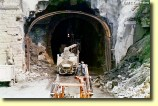 Construction Closeup: An early view of the Allegheny Tunnel as 1993 the enlargement project began. Note the size of the inner, original tunnel; compared to the size of the new bore.  This project took the life of one construction employee.